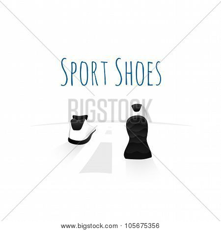 Sport shoes, wellness running concept logo