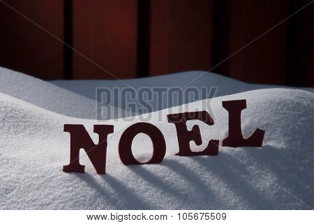 Card With Snow And Word Noel Mean Christmas