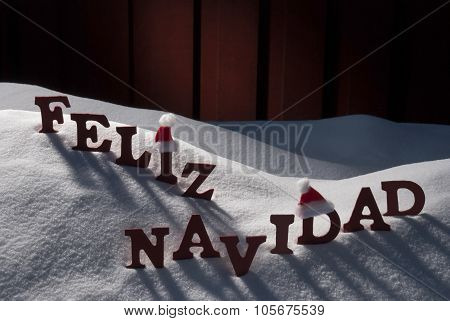 Card With Santa Hat, Snow, Feliz Navidad Mean Merry Christmas