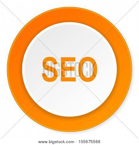 seo orange circle 3d modern design flat icon on white background