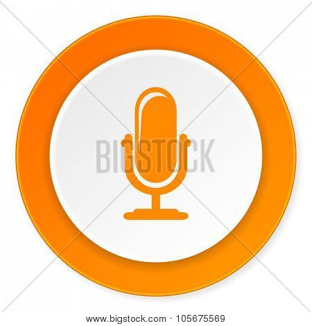 microphone orange circle 3d modern design flat icon on white background