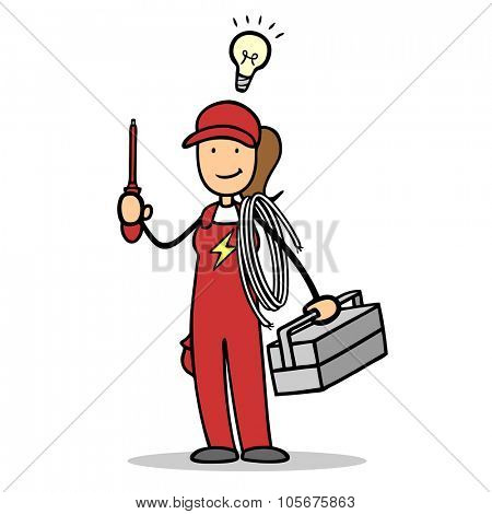 Woman as electrician with light bulb over her head