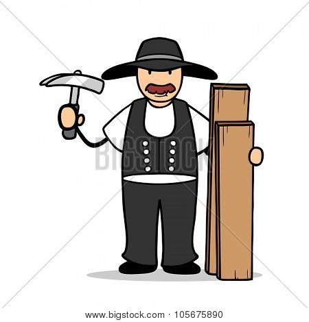 Cartoon illustration of carpenter with hammer and wood