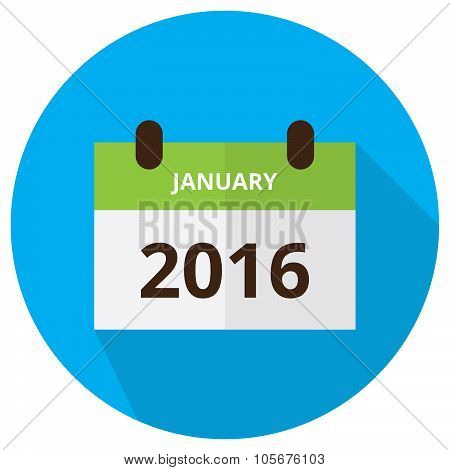 January 2016 Calendar Circle Icon With Wide Shadow