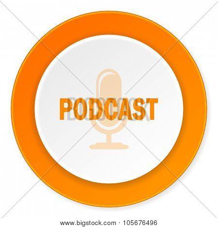 podcast orange circle 3d modern design flat icon on white background