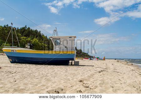 Baltic sea, boat on beach