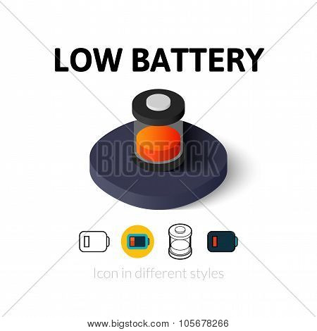 Low battery icon in different style
