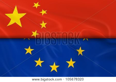 Flags Of China And The European Union Split In Half - 3D Render Of The Chinese Flag And Eu Flag With