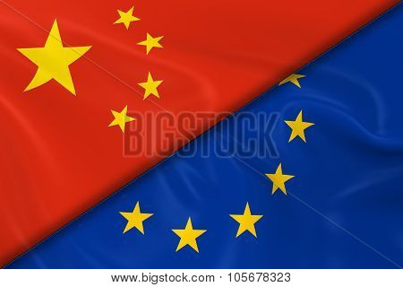 Flags Of China And The European Union Divided Diagonally - 3D Render Of The Chinese Flag And Eu Flag