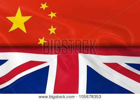 Flags Of China And The United Kingdon Split In Half - 3D Render Of The Chinese Flag And Uk Flag With