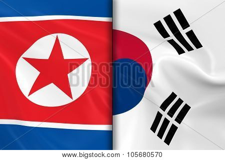 Flags Of North Korea And South Korea Split Down The Middle - 3D Render Of The North Korean Flag And