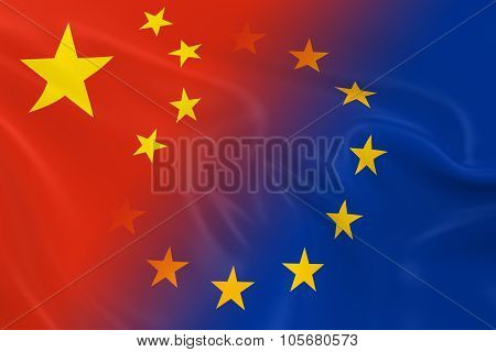 Chinese And European Relations Concept Image - Flags Of China And The European Union Fading Together