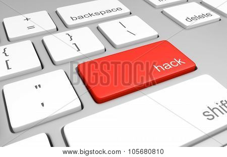 Computer keyboard with a red key labeled for hacking