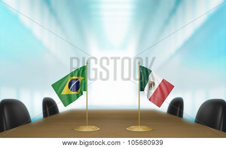Brazil and Mexico relations and trade deal talks 3D rendering