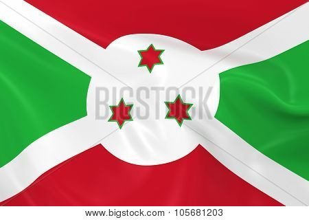 Waving Flag Of Burundi - 3D Render Of The Burundian Flag With Silky Texture