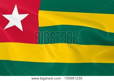 Waving Flag Of Togo - 3D Render Of The Togolese Flag With Silky Texture