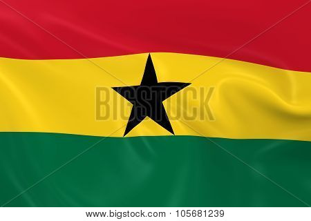 Waving Flag Of Ghana - 3D Render Of The Ghanaian Flag With Silky Texture