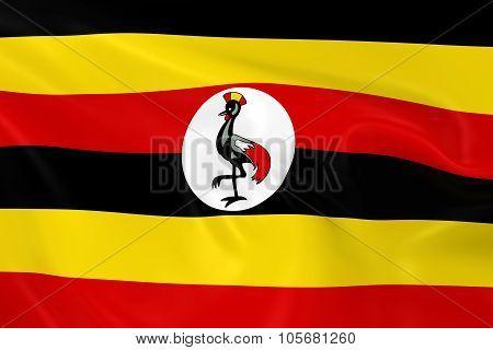 Waving Flag Of Uganda - 3D Render Of The Ugandan Flag With Silky Texture