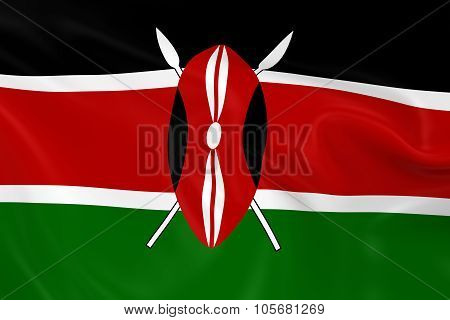 Waving Flag Of Kenya - 3D Render Of The Kenyan Flag With Silky Texture