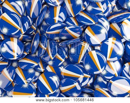 Background With Round Pins With Flag Of Marshall Islands