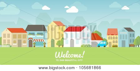 Vector city illustration in flat simple style, houses and buildings on horizontal banner, website he