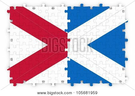 Scottish And Northern Irish Relations Concept Image - Flags Of Scotland And Northern Ireland Jigsaw