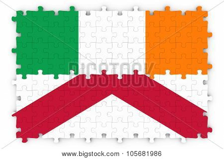 Irish And Northern Irish Relations Concept Image - Flags Of Ireland And Northern Ireland Jigsaw Puzz
