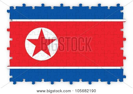 North Korean Flag Jigsaw Puzzle - Flag Of North Korea Puzzle Isolated On White