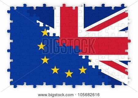 European And British Relations Concept Image - Flags Of The European Union And United Kingdom Jigsaw