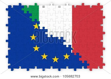 European And Italian Relations Concept Image - Flags Of The European Union And Italy Jigsaw Puzzle