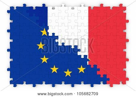European And French Relations Concept Image - Flags Of The European Union And France Jigsaw Puzzle