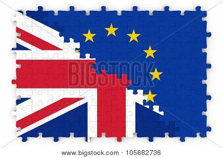 British And European Relations Concept Image - Flags Of The United Kingdom And The European Union Ji