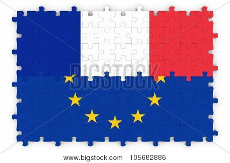 French And European Relations Concept Image - Flags Of France And The European Union Jigsaw Puzzle