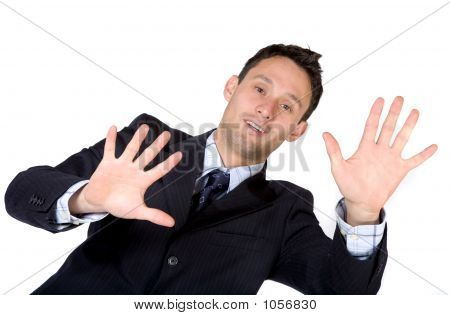 Business Man With Hands On Screen