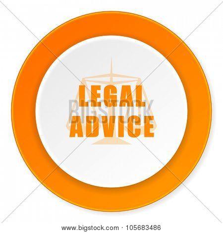 legal advice orange circle 3d modern design flat icon on white background