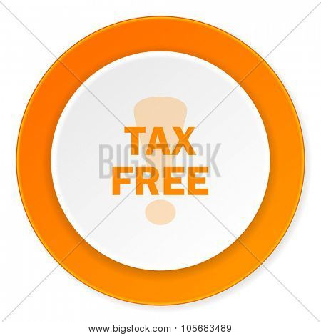 tax free orange circle 3d modern design flat icon on white background