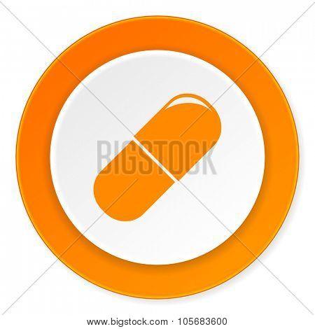 drugs orange circle 3d modern design flat icon on white background
