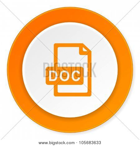 doc file orange circle 3d modern design flat icon on white background