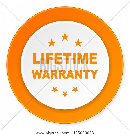 lifetime warranty orange circle 3d modern design flat icon on white background
