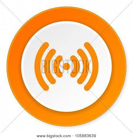 wifi orange circle 3d modern design flat icon on white background
