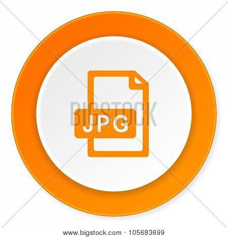jpg file orange circle 3d modern design flat icon on white background