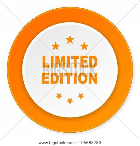 limited edition orange circle 3d modern design flat icon on white background