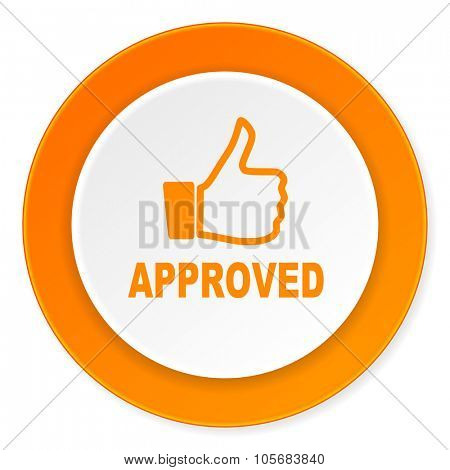 approved orange circle 3d modern design flat icon on white background