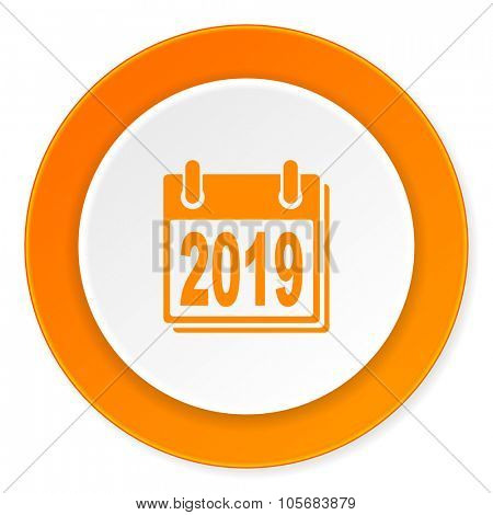 new year 2019 orange circle 3d modern design flat icon on white background