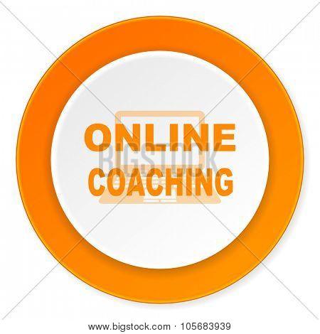 online coaching orange circle 3d modern design flat icon on white background