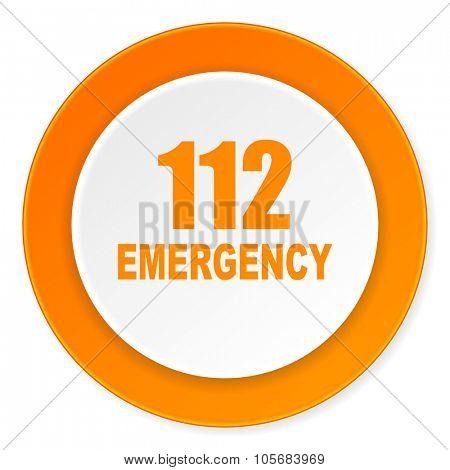 number emergency 112 orange circle 3d modern design flat icon on white background