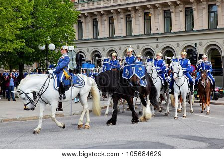 STOCKHOLM, SWEDEN - May 20, 2015: Mounted swedish Royal Guards in the dayly procession in Stockholm