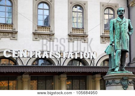 STOCKHOLM, SWEDEN - May 20, 2015: Monument to Nils Ericson near central train station in Stockholm