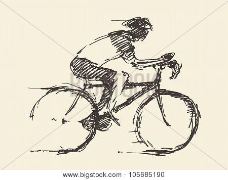 Bicyclist rider man bike vector hand drawn sketch