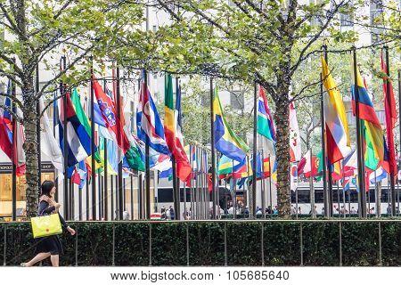 Rockfeller Center Flags In New York